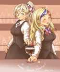 2girls alternate_costume anchor_hair_ornament bangs bartender blonde_hair blue_eyes blue_hair brown_skirt brown_vest collared_shirt commandant_teste_(kantai_collection) commentary_request french_flag french_text hair_between_eyes hair_ornament highres kantai_collection long_hair mole mole_under_eye mole_under_mouth multicolored multicolored_hair multicolored_nails multiple_girls neckwear redhead richelieu_(kantai_collection) shirt skirt streaked_hair swept_bangs thrux tongue tongue_out translated vest white_hair white_shirt