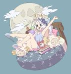 1girl ahoge alarm_clock arm_up banana_takemura blue_footwear blue_headwear blush_stickers book clock clouds full_body full_moon grey_eyes hand_up hat horns legs_up moon nightcap nightgown on_bed open_mouth original pillow plant polka_dot_hat potted_plant sheep sheep_horns short_hair slippers stretch white_hair yawning
