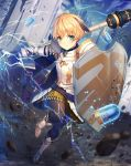 1girl amano_misaki ammunition armor blonde_hair boots castle electricity fate/grand_order fate_(series) gareth_(fate/grand_order) gauntlets green_eyes lance metal_boots pantyhose polearm shield weapon