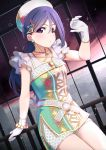 1girl ajapar amazing_travel_dna aqua_earrings azalea_(love_live!) bang blue_hair blush bracelet collarbone dress eyebrows_visible_through_hair finger_gun gloves hair_ornament hat headwear highres jewelry legs legs_together long_ponytail love_live! love_live!_school_idol_festival love_live!_sunshine!! matsuura_kanan multicolored multicolored_clothes multicolored_dress necklace outstretched_arm ponytail shorts shorts_under_dress solo sparks triangle triangle_hair_ornament violet_eyes white_gloves