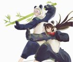 2boys animal_costume bamboo black_hair blue_eyes brown_hair csyko fate/grand_order fate_(series) fighting_stance gao_changgong_(fate) green_eyes grey_hair highres long_hair male_focus multiple_boys no_mask panda_costume silver_hair yan_qing_(fate/grand_order)