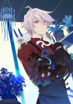 1boy 676643396dolce absurdres animalization apron arjuna_(fate/grand_order) arjuna_alter bishounen black_apron blue_eyes cat european_clothes eyeshadow fate/apocrypha fate/extella fate/extra fate/extra_ccc fate/grand_order fate_(series) flower_shop highres horns jewelry karna_(fate) karna_(flower_coordinator) makeup male_focus multiple_cats red_eyeshadow red_shirt shirt shop single_earring solo_focus white_hair