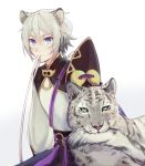 1boy animal_ears biting blue_eyes cat_ears chinese_clothes csyko fate/grand_order fate_(series) gao_changgong_(fate) grey_hair hair_between_eyes highres kemonomimi_mode leopard_ears male_focus mouth_hold no_mask short_hair silver_hair solo tail tail_biting
