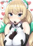 1girl angela_balzac artist_name bangs bare_shoulders between_breasts blue_eyes blush breasts candy chocolate chocolate_heart chocolate_on_clothes closed_mouth eyebrows_visible_through_hair food headgear heart highres impossible_clothes impossible_leotard large_breasts leotard lo_xueming long_hair looking_at_viewer low_twintails patreon_logo patreon_username rakuen_tsuihou simple_background smile solo speech_bubble twintails upper_body white_background white_leotard