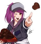 1girl airisubaka artist_name bangs box breasts brown_eyes candy chocolate chocolate_heart commentary eyebrows_visible_through_hair food hat heart highres holding holding_box leah_(airisubaka) long_hair long_sleeves looking_at_viewer medium_breasts one_eye_closed open_mouth original ponytail purple_hair signature simple_background smile solo throwing white_background