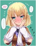 ... 1girl blonde_hair blush brown_shirt commentary embarrassed eyebrows_visible_through_hair fusu_(a95101221) green_background green_eyes hair_between_eyes hands_on_own_face highres mizuhashi_parsee shirt short_hair solo speech_bubble touhou translation_request white_neckwear white_sleeves