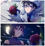 1boy 1girl blue_eyes blue_shirt blush brown_hair closed_mouth collared_shirt crying feathers flower full_moon gloves hat holding holding_flower jacket kaitou_kid meitantei_conan miyano_shiho monicanc monocle moon necktie night outdoors purple_vest red_flower red_neckwear red_rose ribbed_sweater rose shirt short_hair sky smile split_screen star_(sky) starry_sky sweater tears turtleneck turtleneck_sweater upper_body vest violet_eyes white_gloves white_headwear white_jacket wing_collar