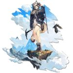 1girl :d adjusting_eyewear alternate_costume animal_ears arknights arm_up bangs bare_legs bird black_footwear blouse blue_choker blue_sky boots choker cliffheart_(arknights) clouds day eyewear_on_head grey_eyes grey_jacket hair_between_eyes head_tilt holding ice_pick jacket leopard_ears leopard_tail long_sleeves looking_to_the_side mountain mountainous_horizon no_hat no_headwear official_art open_clothes open_jacket open_mouth outdoors rope ryuuzaki_ichi short_hair short_shorts shorts silver_hair sky smile socks solo standing sunglasses tail thighs transparent_background white_blouse white_legwear