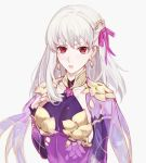 1girl collar csyko detached_sleeves earrings fate/grand_order fate_(series) hair_ribbon jewelry kama_(fate/grand_order) long_hair looking_at_viewer metal_collar purple_sleeves red_eyes ribbon silver_hair solo white_hair