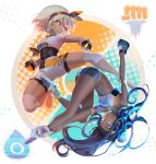 2girls abs absurdres armlet barefoot barefoot_sandals belly_chain black_hairband blue_eyes blue_hair bodysuit bodysuit_under_clothes clenched_hand color_contrast commentary dark_skin dive_ball earrings gloves grey_hair gym_leader hairband halftone hand_on_own_leg highres holding holding_poke_ball hoop_earrings jewelry knee_pads long_hair looking_at_viewer mixed-language_commentary multiple_girls necklace parted_lips partly_fingerless_gloves poke_ball poke_ball_symbol pokemon pokemon_(game) pokemon_swsh rurina_(pokemon) saitou_(pokemon) sandals shirt short_hair short_sleeves shorts single_glove swimsuit tacotako tankini tsurime ultra_ball upside-down very_long_hair