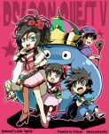 2girls 3boys black_hair blue_eyes brother_and_sister chiezo copyright_name deborah dragon_quest dragon_quest_v family father_and_daughter father_and_son hero's_daughter_(dq5) hero's_son_(dq5) hero_(dq5) king_slime laughing lowres mole mole_under_mouth mother_and_daughter mother_and_son multiple_boys multiple_girls ojou-sama_pose priest red_ribbon ribbon siblings slime_(dragon_quest) spiky_hair turban twins