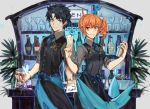 1boy 1girl alternate_hairstyle bartender black_hair blue_eyes butterfly_hair_ornament csyko cup drinking_glass fate/grand_order fate_(series) fujimaru_ritsuka_(female) fujimaru_ritsuka_(male) hair_between_eyes hair_ornament hair_scrunchie hair_up orange_hair scrunchie side_ponytail waistcoat wine_glass yellow_eyes