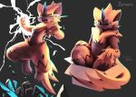 blue_eyes box character_name claws creature electricity fangs full_body gen_7_pokemon grey_background highres horn in_box in_container jumping legendary_pokemon looking_at_viewer lyc no_humans pokemon pokemon_(creature) rock simple_background zeraora