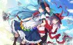 2girls apron black_headwear blue_hair blue_skirt boots bow bowtie brown_footwear capelet clouds dress_shirt eyebrows_visible_through_hair food frills fruit hat hat_bow hat_ribbon hinanawi_tenshi keystone leaf long_hair long_sleeves looking_at_viewer multiple_girls nagae_iku neck_ribbon one_eye_closed peach puffy_long_sleeves puffy_short_sleeves puffy_sleeves purple_hair rainbow_gradient rainbow_order red_bow red_eyes ribbon shawl shirt shoes short_hair short_sleeves sigh skirt sky sweatdrop sword_of_hisou touhou touhou_cannonball toutenkou white_shirt