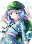 1girl backpack bag bangs blue_eyes blue_hair blue_shirt blue_skirt blush collared_shirt cowboy_shot crowbar eyebrows_visible_through_hair flat_cap frilled_shirt_collar frills green_headwear hair_bobbles hair_ornament happiness_lilys hat highres kawashiro_nitori key long_sleeves looking_at_viewer medium_hair open_mouth pocket shirt short_twintails skirt skirt_set smile tools touhou twintails two_side_up water_drop wrench