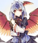1girl ahoge black_skirt blue_background blue_hair book commentary_request feathered_wings gradient gradient_background head_wings holding holding_book horns long_sleeves looking_at_viewer medium_hair multicolored_hair neck_ribbon partial_commentary puffy_sleeves raka_(cafe_latte_l) red_eyes red_neckwear ribbon silver_hair single_head_wing skirt smile solo tokiko_(touhou) touhou upper_body white_background wings