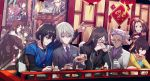 4boys 4girls brown_hair bun_cover chen_gong_(fate) china_dress chinese_clothes chinese_text consort_yu_(fate) csyko dress fate/grand_order fate_(series) formal gao_changgong_(fate) glasses grey_hair lantern long_hair lord_el-melloi_ii multiple_boys multiple_girls nezha_(fate/grand_order) paper_lantern poster_(object) purple_hair qin_liangyu_(fate) qin_shi_huang_(fate/grand_order) silver_hair suit trait_connection twintails waver_velvet wu_zetian_(fate/grand_order) xuanzang_(fate/grand_order) yan_qing_(fate/grand_order) yang_guifei_(fate/grand_order)