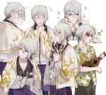 6+boys blue_eyes blush character_sheet csyko fate/grand_order fate_(series) flower gao_changgong_(fate) hair_between_eyes hair_flower hair_ornament hawaiian_shirt heroic_spirit_festival_outfit hibiscus holding holding_mask instrument m male_focus mask mask_removed multiple_boys multiple_persona pout shirt short_ponytail silver_hair sparkle sunglasses towel towel_around_neck ukulele