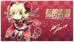 1girl ahoge alternate_costume alternate_hairstyle azur_lane bangs black_gloves blonde_hair bun_cover chibi chinese_clothes chinese_new_year closed_mouth commentary_request dated double_bun dress elbow_gloves eyebrows_visible_through_hair firecrackers gloves green_eyes hair_ribbon highres musical_note_hair_ornament nengajou new_year pink_skirt red_dress ribbon signature skirt smile solo southampton_(azur_lane) vilor