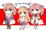 3girls alternate_costume atlanta_(kantai_collection) bag bangs blonde_hair blush breasts brown_hair chibi closed_mouth coat double_bun earrings english_text eyebrows_visible_through_hair fletcher_(kantai_collection) hair_between_eyes hair_ornament hairband handbag intrepid_(kantai_collection) jewelry kantai_collection light_brown_hair long_hair long_sleeves mika_(hh7) multiple_girls necklace open_mouth pants ponytail scarf shopping_bag single_earring skirt smile standing star star_earrings twintails