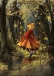 1girl absurdres aki_shizuha black_footwear blonde_hair dress floating_hair full_body grass hair_ornament highres landscape leaf leaf_hair_ornament leaf_on_head looking_at_viewer looking_back orange_skirt red_dress red_headwear red_shirt shirt short_hair skirt touhou tree ushitsuchi white_legwear