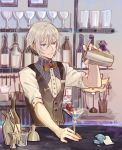 1boy bar bartender blue_eyes bottle bow bowtie cherry cocktail_glass cocktail_shaker counter csyko cup drink drinking_glass fate/grand_order fate_(series) food fruit gao_changgong_(fate) gem grey_hair hair_between_eyes highres jigger looking_away male_focus name_tag no_mask parted_lips pouring shelf shirt short_hair silver_hair smile solo spoon violet_eyes waistcoat white_shirt