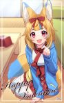 1girl :3 animal_ear_fluff animal_ears arm_support bangs blonde_hair blue_hair blue_jacket blurry blurry_background bow candy chocolate chocolate_heart copyright_request depth_of_field drawstring eyebrows_visible_through_hair floral_print food fox_ears fox_tail hair_bow happy_valentine heart highres holding holding_food hood hood_down hooded_jacket incoming_food indoors jacket japanese_clothes kimono long_sleeves looking_at_viewer multicolored_hair open_clothes open_jacket pleated_skirt print_skirt red_bow red_eyes red_skirt sakura_chiyo_(konachi000) short_eyebrows signature sitting skirt sleeves_past_wrists solo sparkle table tail thick_eyebrows thigh-highs two-tone_hair valentine virtual_youtuber white_kimono white_legwear yokozuwari