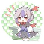 1girl black_skirt book_stack checkered checkered_background chibi commentary_request fang frilled_skirt frills full_body green_background grey_hair head_wings highres horns kurotaro looking_at_viewer medium_hair multicolored_hair open_mouth purple_hair purple_shirt red_eyes red_neckwear shirt single_head_wing skirt sleeves_past_fingers sleeves_past_wrists solo tokiko_(touhou) touhou wings