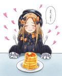 1girl :t abigail_williams_(fate/grand_order) absurdres admjgdme bangs black_bow black_dress black_headwear blonde_hair blush bow butter closed_eyes closed_mouth commentary_request dress eating facing_viewer fate/grand_order fate_(series) food food_on_face forehead fork hair_bow hat heart highres holding holding_fork holding_spoon long_hair long_sleeves multiple_bows multiple_hair_bows orange_bow pancake parted_bangs plate polka_dot polka_dot_bow simple_background sleeves_past_fingers sleeves_past_wrists solo spoon stack_of_pancakes translated wavy_mouth white_background