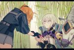 1boy 1girl bamboo bamboo_forest bent_over blue_eyes blush chinese_armor chinese_clothes csyko fate/grand_order fate_(series) forest fujimaru_ritsuka_(female) gao_changgong_(fate) gift grey_hair hair_between_eyes hair_ornament hair_scrunchie highres horse nature orange_hair polar_chaldea_uniform scrunchie short_hair side_ponytail silver_hair
