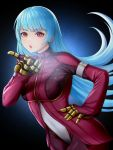 1girl blue_hair bodysuit breasts chaps commentary gloves highres kula_diamond long_hair looking_at_viewer nyatokanyaru open_mouth red_eyes simple_background solo the_king_of_fighters the_king_of_fighters_2000 very_long_hair