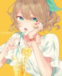 1girl bow brown_hair drinking_straw fingernails food fruit glass green_bow green_eyes hair_bow head_rest jewelry klasse14 lemon lemon_slice looking_at_viewer necklace parted_lips red_nails satsuki_(miicat) shirt short_sleeves simple_background solo upper_body watch watch white_shirt yellow_background