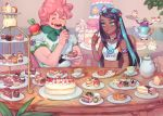 1boy 1girl :d ^_^ alcremie applin aqua_eyes aqua_hair armband artist_name bare_shoulders black_hair blurry blurry_background cake cherry closed_eyes commentary_request cup dark_skin ear_clip earrings eating eclair_(food) food fork fruit gen_8_pokemon gigantamax gigantamax_alcremie gym_leader holding holding_fork hoop_earrings jewelry long_hair milcery multicolored_hair no_gloves open_mouth pastry pie pink_hair plate pokemon pokemon_(creature) pokemon_(game) pokemon_on_shoulder pokemon_swsh polteageist rurina_(pokemon) sakai_(motomei) short_sleeves slice_of_cake slice_of_pie smile strawberry sweets table tank_top tea_party teacup teapot tiered_tray two-tone_hair yarrow_(pokemon)