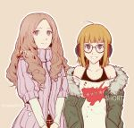 2girls alternate_hair_length alternate_hairstyle bangs behind-the-head_headphones blunt_bangs brown_hair csyko fur-trimmed_jacket fur_trim glasses green_jacket jacket long_hair multiple_girls okumura_haru orange_hair persona persona_5 ribbed_sweater sakura_futaba short_hair sweater twitter_username violet_eyes wavy_hair