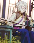 1boy bishounen blue_eyes chinese_clothes csyko erhu fate/grand_order fate_(series) gao_changgong_(fate) grey_hair hair_between_eyes highres instrument male_focus music no_mask playing_instrument short_hair silver_hair sitting solo