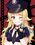 1girl amidada bangs black_choker black_gloves black_neckwear blonde_hair blue_eyes blue_headwear blue_shirt chain choker collarbone collared_shirt cuffs eyebrows_visible_through_hair fingerless_gloves gloves grin hachimiya_meguru hair_flaps hand_up handcuffs hat highres idolmaster idolmaster_shiny_colors index_finger_raised long_hair necktie one_eye_closed peaked_cap police police_hat police_uniform policewoman puffy_short_sleeves puffy_sleeves red_background shirt short_necktie short_sleeves smile solo star tie_clip uniform upper_body v-shaped_eyebrows very_long_hair