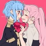 2girls artist_name bangs black_eyes blue_hair blush bow braid buttons closed_eyes collar do_m_kaeru eyebrows_visible_through_hair face-to-face fire_emblem fire_emblem:_three_houses from_side heart hilda_valentine_goneril long_hair looking_at_another marianne_von_edmund medium_hair multiple_girls nose noses_touching open_mouth pink_background pink_bow pink_hair shirt sidelocks simple_background smile upper_body valentine yuri