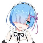 1girl bangs bare_shoulders black_neckwear black_ribbon blue_eyes blue_hair detached_sleeves frills furrowed_eyebrows hair_ornament hair_over_one_eye hair_ribbon head_tilt kearful looking_to_the_side maid maid_headdress neck_ribbon open_mouth portrait purple_ribbon re:zero_kara_hajimeru_isekai_seikatsu rem_(re:zero) ribbon shaded_face short_hair simple_background smirk smug solo upper_body white_background x_hair_ornament