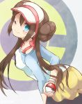 1girl black_legwear blue_eyes bow brown_hair double_bun holding holding_poke_ball leaning_forward long_hair lowres mei_(pokemon) one_eye_closed poke_ball pokemon pokemon_(game) pokemon_bw2 skirt smile solo standing twintails yellow_skirt