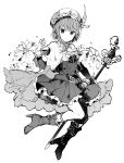 1girl ankle_boots atelier_(series) atelier_rorona belt boots bow bowtie cape closed_mouth flower greyscale hat hat_feather high_heel_boots high_heels holding ikeuchi_tanuma imp looking_at_viewer monochrome pleated_skirt rororina_fryxell short_hair short_sleeves simple_background skirt smile solo staff white_background