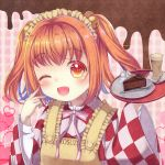 1girl ;d apron arms_up brown_background cake cappuccino_(drink) character_name checkered checkered_background checkered_kimono chocolate_cake clothes_writing commentary_request cup drinking_glass eyebrows_visible_through_hair finger_to_cheek food fork furisode head_tilt heart highres holding holding_tray japanese_clothes kimono maid_headdress motoori_kosuzu neck_ribbon one_eye_closed open_mouth pink_background plate red_eyes redhead ribbon saucer slice_of_cake smile solo spoon striped striped_neckwear striped_ribbon tomo_takino touhou tray twintails valentine