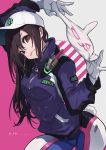 1girl alternate_costume baseball_cap between_fingers bodysuit breasts brown_eyes brown_hair bunny_tail d.va_(overwatch) eito_nishikawa eyebrows_visible_through_hair gloves hat head_tilt headphones headphones_around_neck highres jacket long_hair medium_breasts overwatch pilot_suit pinky_out shooting_star_d.va solo tail zipper zipper_pull_tab