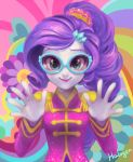1girl asymmetrical_bangs bangs breasts commentary curly_hair english_commentary eyelashes eyeshadow glasses hair_ornament halogenkn hands lipstick long_hair long_sleeves looking_at_viewer makeup multicolored multicolored_background my_little_pony my_little_pony_equestria_girls my_little_pony_friendship_is_magic ponytail purple_hair rarity signature small_breasts smile solo tied_hair upper_body white_skin