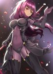 1girl bangs blush bodysuit breasts clyde_s covered_navel eyebrows_visible_through_hair fate/grand_order fate_(series) gae_bolg hair_between_eyes hair_intakes hand_up holding holding_spear holding_weapon large_breasts long_hair looking_at_viewer parted_lips pauldrons petals polearm purple_bodysuit purple_hair red_eyes scathach_(fate)_(all) scathach_(fate/grand_order) solo spear standing very_long_hair weapon