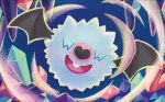 :d bat blue_background creature crystal facing_viewer flying full_body gen_5_pokemon no_humans official_art open_mouth pokemon pokemon_(creature) pokemon_trading_card_game shibuzoh simple_background smile solo woobat