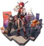 1girl :d alternate_costume arknights bangs bare_legs black_shirt brown_eyes burrito cup detached_wings disposable_cup drinking_straw exusiai_(arknights) eyebrows_visible_through_hair food full_body gloves grey_footwear ground_vehicle gun hair_between_eyes halo hamburger headphones helmet highres holding holding_gun holding_helmet holding_weapon huanxiang_heitu jacket kfc looking_at_viewer mismatched_gloves motor_vehicle motorcycle motorcycle_helmet official_art open_clothes open_jacket open_mouth red_legwear red_neckwear redhead rifle shadow shirt shoes short_hair short_shorts short_sleeves shorts smile sneakers socks solo standing taco transparent_background weapon white_gloves white_jacket white_shorts wings yellow_gloves