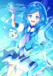 1girl bird blue_eyes blue_hair boots choker coat commentary_request cure_fontaine gloves healin'_good_precure highres magu_(magupan) pegitan_(precure) penguin pin precure sawaizumi_chiyu water