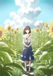 1girl anyotete bangs blue_skirt blue_sky brown_eyes brown_hair closed_mouth clouds field flower flower_field highres holding holding_flower medium_hair original sandals scenery shirt skirt sky smile solo standing summer sunflower white_shirt