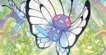 akitsu_taira bug butterfly butterfree creature fangs fence flying gen_1_pokemon insect no_humans official_art plant pokemon pokemon_(creature) pokemon_trading_card_game violet_eyes