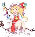 1girl :d ascot bangs blush caramell0501 commentary crystal eyebrows_visible_through_hair fang flandre_scarlet frilled_shirt_collar frills hair_between_eyes hat hat_ribbon highres knees_up laevatein long_hair looking_at_viewer miniskirt mob_cap one_side_up open_mouth petticoat puffy_short_sleeves puffy_sleeves red_ribbon red_skirt red_vest ribbon shirt short_sleeves simple_background sitting skirt skirt_set smile socks solo touhou vest white_background white_headwear white_legwear white_shirt wings yellow_neckwear